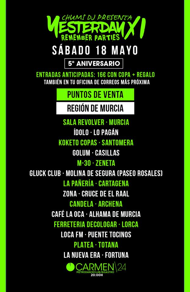 Entradas Yesterday 11 Murcia